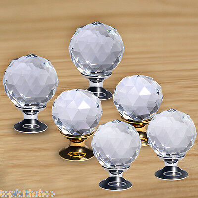 5 X 25mm Diamond Clear Crystal Glass Door Drawer Knob Handle Cabinet Wardrobe