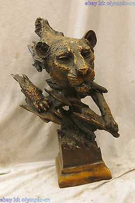 """16"""" China bronze copper carved finely violent lucky tiger head Sculpture Statue"""