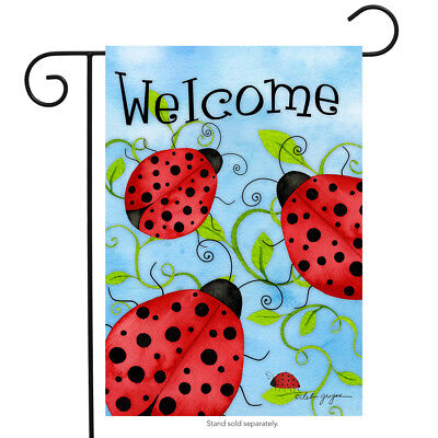 """Ladybug Welcome Garden Flag Spring Critters Insects 12.5"""" x 18"""""""