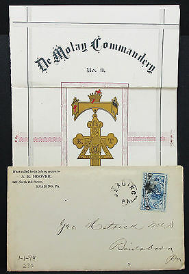 De Molay Commandery Reading US Letter Hoover Columbus Stamp 1c USA Brief (H-8013