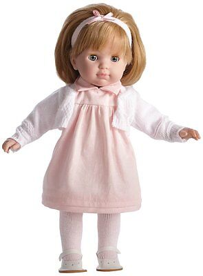 JC Toys Blonde Toddler Doll, Carla,  14-Inch Soft Body Doll Dressed Pink & White