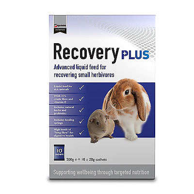 Supreme Recovery PLUS Sachets 10 x 20g liquid food sick rabbits and Guinea Pigs