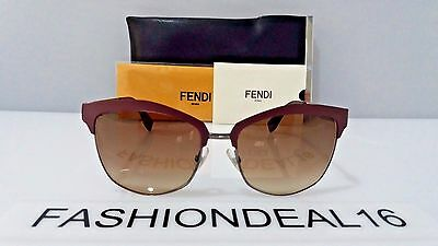 New FENDI Authentic Burgundy Gunmetal FF 0051/S MVNJD 55mm Sunglasses