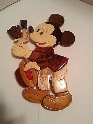Hand-Carved Wood Art Intarsia Mickey Mouse Wall Plaque Decor
