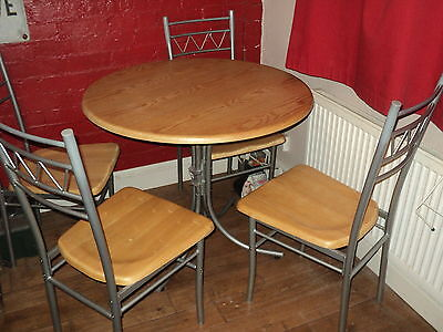 dining table and chairs 4 seater pine and metal