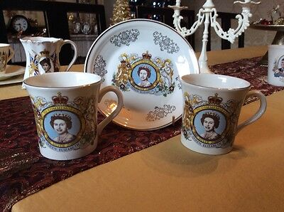 Queen Elizabeth II mugs and plate commemorative collection
