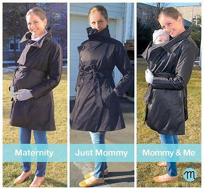 Mulier Cozy Joey NWT Womens Maternity Trench Coat Mom & Me Black FLAWLESS $298
