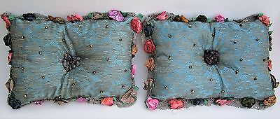 A pair unique handmade metal lace & silk linning pillows