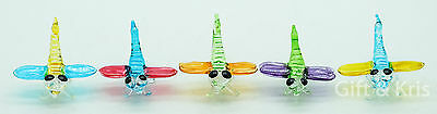 5 Pcs Figurine Animal Hand Blown Glass Insect Dragonfly - GPIS010