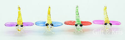 4 Pcs Figurine Animal Hand Blown Glass Insect Dragonfly - GPIS009