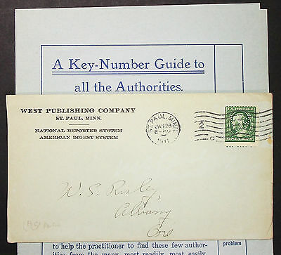 US ADV Envelope West Publishing Company St. Paul Perfin Stamp USA Brief (H-8031