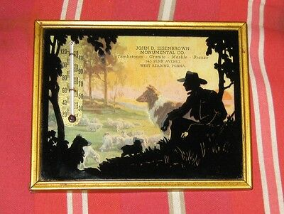 Thermometer Silhouette Western Cowboy Sheep Dogs West Reading Pennsyllvania