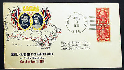US Royal Train Majesties' Canadian Tour Illustrated Cover RPO USA Brief (H-8043