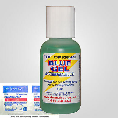 1oz Blue Gel Tattoo Cosmetic Numb Topical Anesthetic 4% Lidocaine alcohol pads