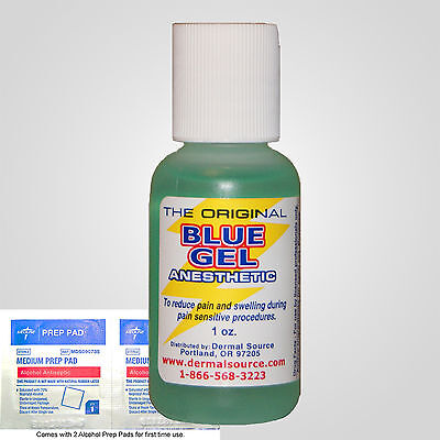 1oz Blue Gel Tattoo Cosmetic Pierce Numbing Anesthetic Dr Relief 2 alcohol pads