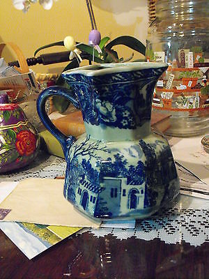 Royal Crownford Blue & Green  Pitcher ironstone Staffordshire, England