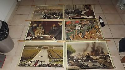 Antique 6 LARGE double picture MAPS teaching 1950 German WW2 history