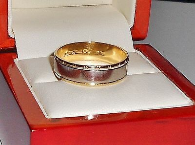 Heavy 18Ct Yellow Gold  And Platinum  Wedding Ring Size R.5 6.2 Grams