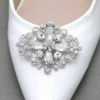 A Pair Vintage Style Rhinestone Crystal Wedding Bridal Shoe Clips Jewelry