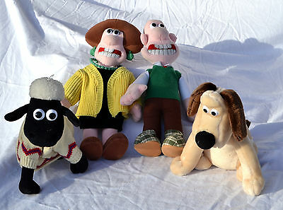 Set of 4 Wallace & Gromit Dolls Wallace, Gromit, Shaun, Wendolene