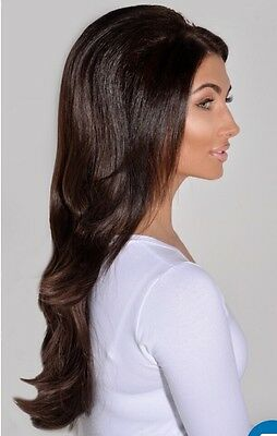 Boutique Celeb Darkest Brown #2 Flicky Synthetic 3/4 Wig BNWT RRP £25