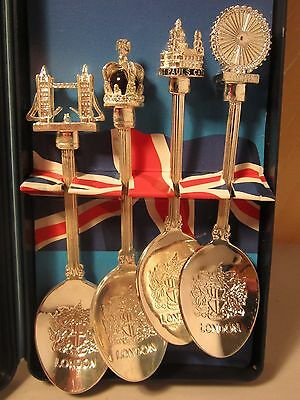 Patriotic London Themed Silver Plated Collectors Spoons - New Boxed