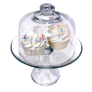 Anchor Hocking Covered Cake Stand - Glass - Presence - Small