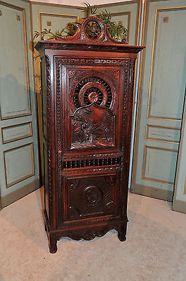Antique French Breton Cabinet Nice Narrow Decorative Model with Carved Scenery