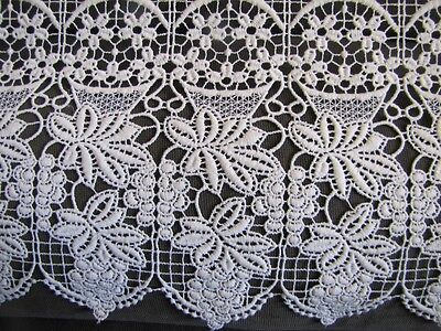 VINTAGE FRENCH COUNTRY STYLE WHITE LACE CURTAIN FLORAL PATTERN 214X53 cm