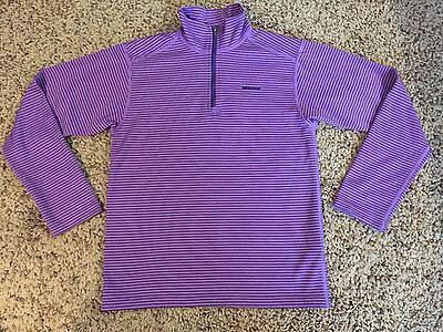 Girl's Patagonia Purple Striped Capilene Baselayer Shirt 1/4 Zip Up sz. 10 EUC