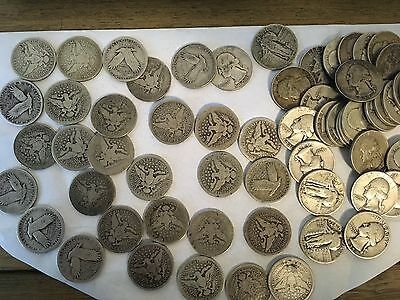 Silver Quarter lot (90%)  Barber, Standing Liberty, Washington, (62 coins)