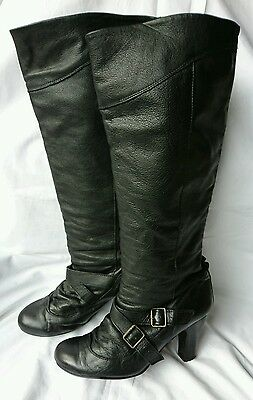 Black Soft Leather Knee High Heeled Boots 40 7