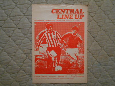 Sheffield Utd Res V Bury Res Central League Match Programme January 1971