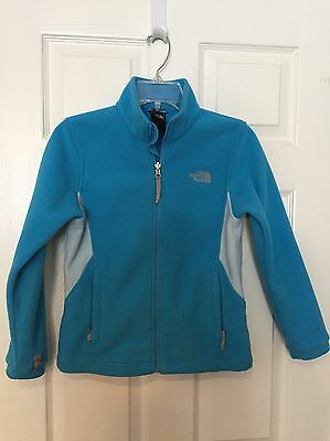 GIRLS THE NORTH FACE Polartec Fleece Turquoise Zip Up Jacket Medium