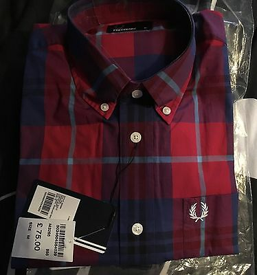 Fred Perry Men's Red check Shirt, size M