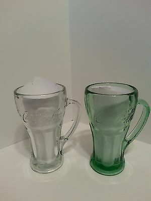 LOT OF 2 COLLECTIBLE COCA COLA LIBBEY GLASSES WITH HANDLE 14oz GREEN AND CLEAR
