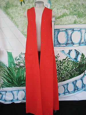 Vintage Maxi Vest Long Red with Sparkles