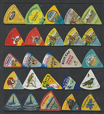 Selection of all different cheese labels ettiquette Fromage formaggio kase #496