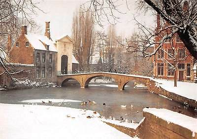 Belgium Brugge Entrance to the Princely Beguinage Winter Bridge