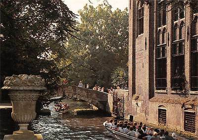 Belgium Brugge Garden of the Arentshouse Bridge of St. Boniface Boats Bridge