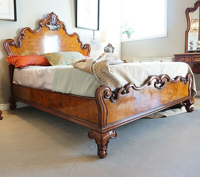 Beautiful Queen Mahogany and Burl solid wood carved bed
