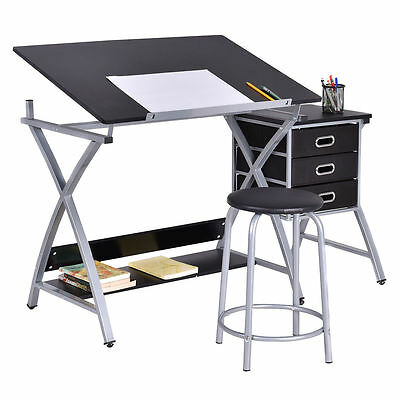 Drawing Design Board Desk Padded Stool Art Drafting Craft Study Adjustable Table
