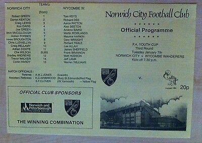 Norwich City Youth v Wycombe Wanderers - FA Youth Cup - 7th January 1997