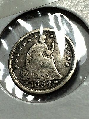 1854 Silver Half Dime, Fabulously Preserved!