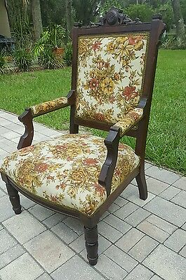 Antique THRONE Chair EASTLAKE Carved Walnut ARM Chair