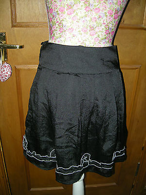 Ladies Black Short Mini Casual Smart Skirt M Butterfly Size S 8 Used