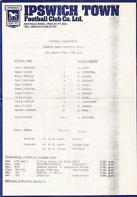 Ipswich Town V Bristol Rovers Reserves Football Combination  21/4/79