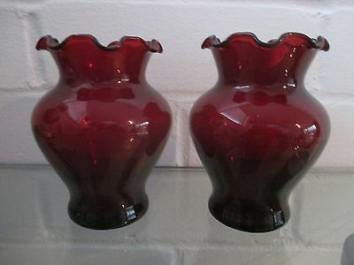 Collectable Ruby Red Anchor Hocking Ruffle Rim Art Glass Vases