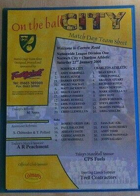 Norwich City v Charlton Athletic Matchday Teamsheet - 22nd January 2000