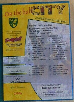 Norwich City v Portsmouth Matchday Teamsheet - 3rd January 2000